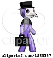 Purple Plague Doctor Man Walking With Briefcase To The Right