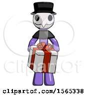 Purple Plague Doctor Man Gifting Present With Large Bow Front View