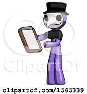 Purple Plague Doctor Man Reviewing Stuff On Clipboard