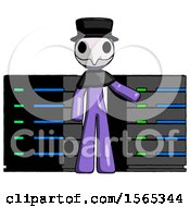 Purple Plague Doctor Man With Server Racks In Front Of Two Networked Systems