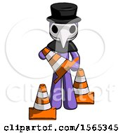 Purple Plague Doctor Man Holding A Traffic Cone