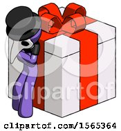 Purple Plague Doctor Man Leaning On Gift With Red Bow Angle View