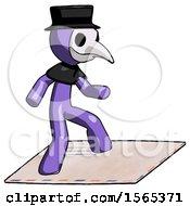 Purple Plague Doctor Man On Postage Envelope Surfing