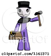 Purple Plague Doctor Man Holding Tools And Toolchest Ready To Work