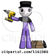 Purple Plague Doctor Man Holding Drill Ready To Work Toolchest And Tools To Right