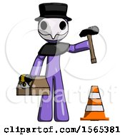 Purple Plague Doctor Man Under Construction Concept Traffic Cone And Tools