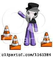 Purple Plague Doctor Man Standing By Traffic Cones Waving