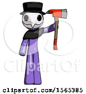 Purple Plague Doctor Man Holding Up Red Firefighters Ax