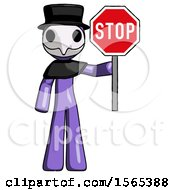 Purple Plague Doctor Man Holding Stop Sign