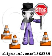 Purple Plague Doctor Man Holding Stop Sign By Traffic Cones Under Construction Concept