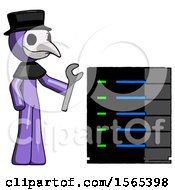 Purple Plague Doctor Man Server Administrator Doing Repairs