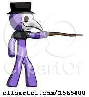 Purple Plague Doctor Man Pointing With Hiking Stick