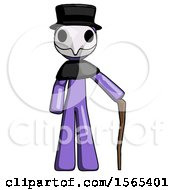 Purple Plague Doctor Man Standing With Hiking Stick