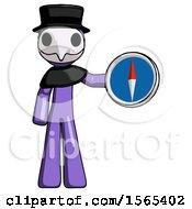 Purple Plague Doctor Man Holding A Large Compass