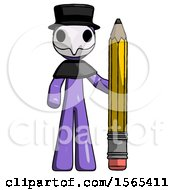 Purple Plague Doctor Man With Large Pencil Standing Ready To Write