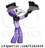 Purple Plague Doctor Man Dusting With Feather Duster Upwards