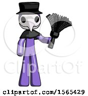 Purple Plague Doctor Man Holding Feather Duster Facing Forward