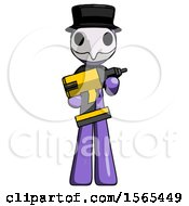 Purple Plague Doctor Man Holding Large Drill