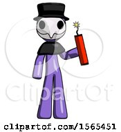 Purple Plague Doctor Man Holding Dynamite With Fuse Lit
