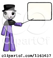 Purple Plague Doctor Man Giving Presentation In Front Of Dry Erase Board