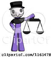 Purple Plague Doctor Man Holding Scales Of Justice