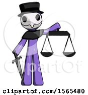 Purple Plague Doctor Man Justice Concept With Scales And Sword Justicia Derived