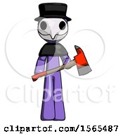 Purple Plague Doctor Man Holding Red Fire Fighters Ax