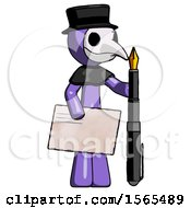 Purple Plague Doctor Man Holding Large Envelope And Calligraphy Pen