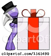 Purple Plague Doctor Man Gift Concept Leaning Against Large Present
