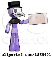 Purple Plague Doctor Man Holding Large Envelope