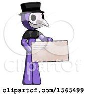 Purple Plague Doctor Man Presenting Large Envelope