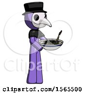 Purple Plague Doctor Man Holding Noodles Offering To Viewer