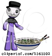 Purple Plague Doctor Man And Noodle Bowl Giant Soup Restaraunt Concept