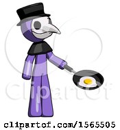 Purple Plague Doctor Man Frying Egg In Pan Or Wok Facing Right