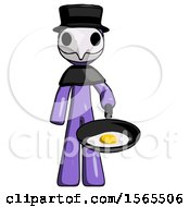 Purple Plague Doctor Man Frying Egg In Pan Or Wok