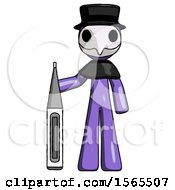 Purple Plague Doctor Man Standing With Large Thermometer