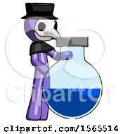 Purple Plague Doctor Man Standing Beside Large Round Flask Or Beaker