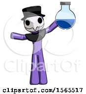 Purple Plague Doctor Man Holding Large Round Flask Or Beaker