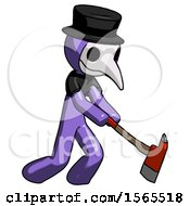 Purple Plague Doctor Man Striking With A Red Firefighters Ax