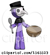 Purple Plague Doctor Man With Empty Bowl And Spoon Ready To Make Something