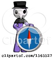 Purple Plague Doctor Man Standing Beside Large Compass