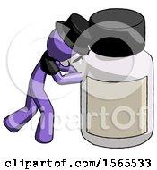 Purple Plague Doctor Man Pushing Large Medicine Bottle