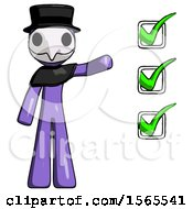 Purple Plague Doctor Man Standing By List Of Checkmarks