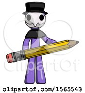 Purple Plague Doctor Man Writer Or Blogger Holding Large Pencil