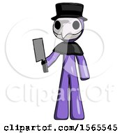 Purple Plague Doctor Man Holding Meat Cleaver