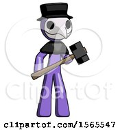 Purple Plague Doctor Man With Sledgehammer Standing Ready To Work Or Defend