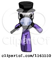 Purple Plague Doctor Man Looking Down Through Magnifying Glass
