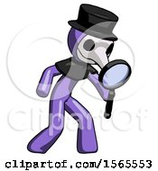 Purple Plague Doctor Man Inspecting With Large Magnifying Glass Right