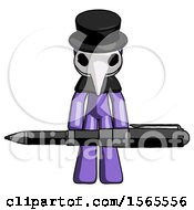 Purple Plague Doctor Man Weightlifting A Giant Pen