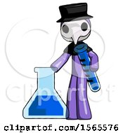 Purple Plague Doctor Man Holding Test Tube Beside Beaker Or Flask